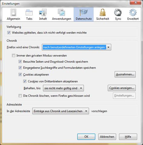 Firefox Einstellungen, Datenschutz Einstellungen um eine benutzerdefinierte Chronik anzulegen