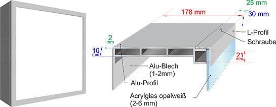 Einseitiger Leuchtkasten Querschnitt