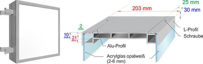 Querschnitt eines doppelseitigen Leuchtkastens